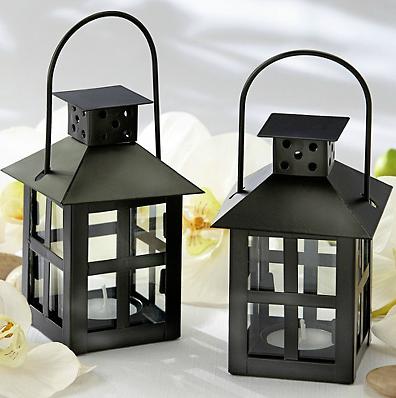 Suporte para Vela em forma de mini lanterna negra